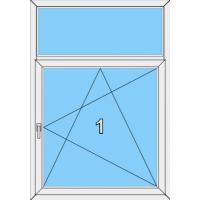 005 Fenster einflügelig, dreh- und kippbar mit einer Blendrahmenfestverglasung als Oberlicht