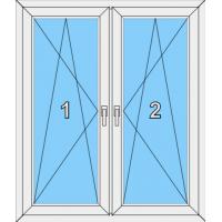 008 Fenster zweiflügelig, dreh-kippbar mit Pfosten