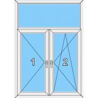 010 Fenster zweiflügelig, dreh und dreh-kippbar mit Pfosten und einer Blendrahmenfestverglasung als Oberlicht
