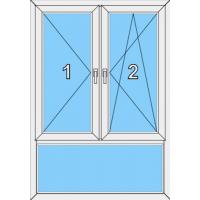 011 Fenster zweiflügelig, dreh und dreh- kippbar mit Pfosten und einer Blendrahmenfestverglasung als Unterlicht