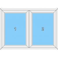 012 Fenster zweiflügelig mit zwei festeingeschraubten Flügeln