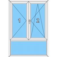 013 Stulp Fenster zweiflügelig, dreh und dreh mit Pfosten und einer Blendrahmenfestverglasung als Unterlicht