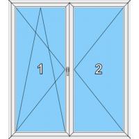 014 Stulp-Fenster zweiflügelig, dreh--kippbar und dreh ohne Pfosten