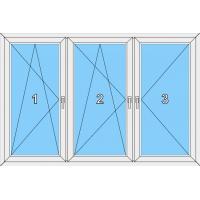 015 Fenster dreiflügelig, dreh-kipp, dreh-kippbar und dreh mit 2 Pfosten