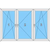 016 Fenster dreiflügelig, dreh-kipp, dreh und dreh-kippbar mit 2 Pfosten