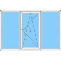 017 Fenster einflügelig, dreh-und kippbar mit je einer Blendrahmenfestverglasung links und rechts