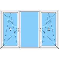 018 Fenster zweiflügelig, dreh-kipp und dreh-kippbar mit einer Blendrahmenfestverglasung mittig