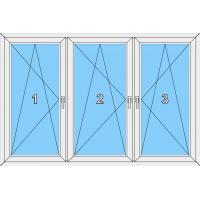 019 Fenster dreiflügelig, alle Flügel dreh-kippbar mit zwei Pfosten