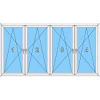 021 Fenster vierflügelig, alle Flügel dreh-kippbar mit drei Pfosten