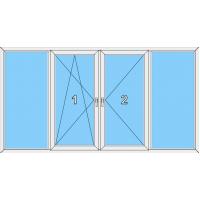 022 Fenster zweiflüglig, dreh-u.kippbar mit 3 Pfosten und zwei Blendrahmenfestverglasungen