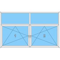 023 Fenster zweiflüglig, zwei dreh-kipp mit zwei Blendrahmenfestverglasung Oberlichtern