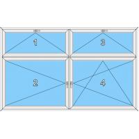 024 Fenster vierflüglig, dreh und dreh-kipp mit zwei kipp-baren Oberlichtern